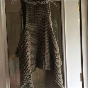 Olivia M Jackets & Coats - Olivia M Sweater Vest trimmed with Rabbit fur